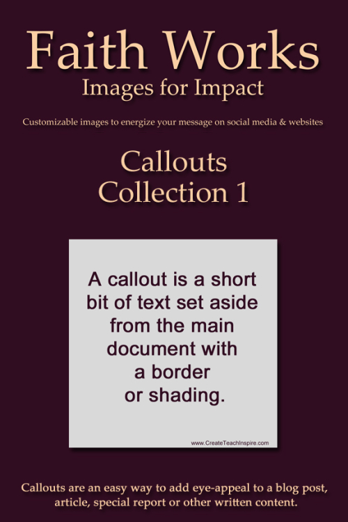 Faith Works Images - Callouts Collection 1 - Cover