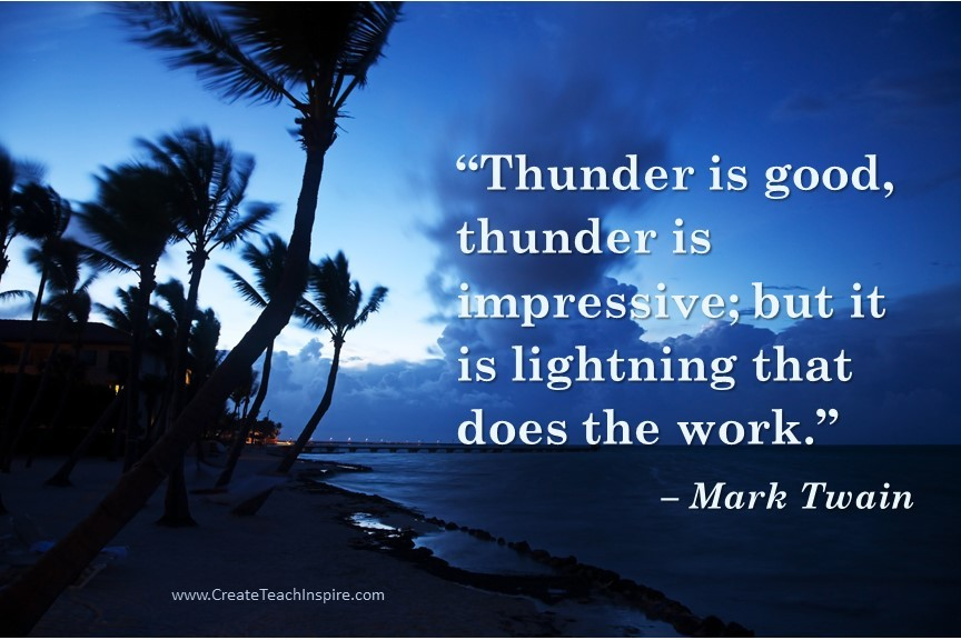 Lightning does the work - Mark Twain - Faith Works Images for Impact