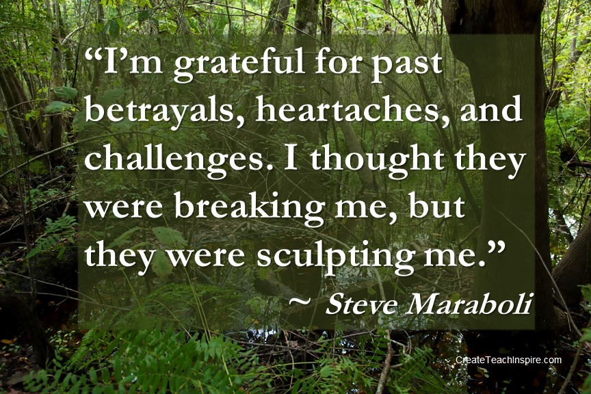 """I'm grateful for past betrayals, heartaches, and challenges. I thought they were breaking me, but they were sculpting me."" – Steve Maraboli"