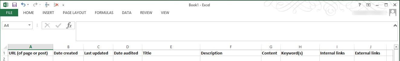 sample website audit spreadsheet
