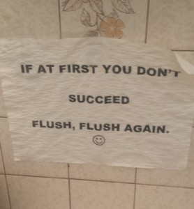 If at first you don't succeed, flush, flush, again.