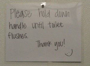 Please hold down handle until toilet flushes.