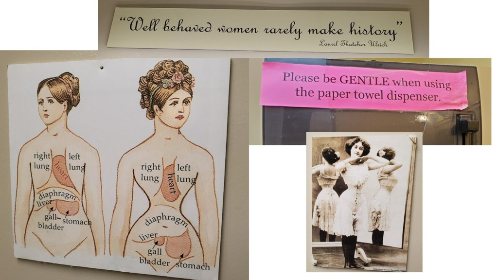 Signs in the restroom at the Marietta Museum of History