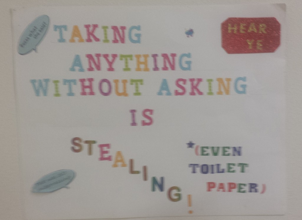 Taking anything (even toiled paper) without asking is stealing