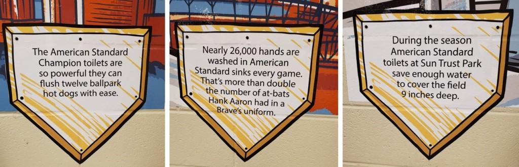 Signs in the restroom at Sun Trust Park in Atlanta