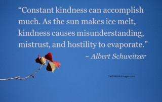 """Constant kindness can accomplish much. As the sun makes ice melt, kindness causes misunderstanding, mistrust, and hostility to evaporate."" ~ Albert Schweitzer"