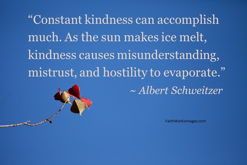 """""""Constant kindness can accomplish much. As the sun makes ice melt, kindness causes misunderstanding, mistrust, and hostility to evaporate."""" ~ Albert Schweitzer"""