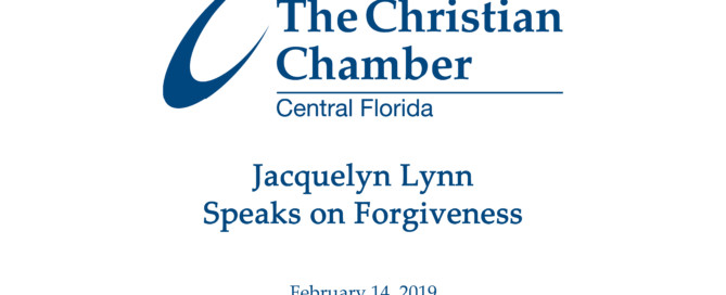 Jacquelyn Lynn speaks on forgiveness at the Christian Chamber