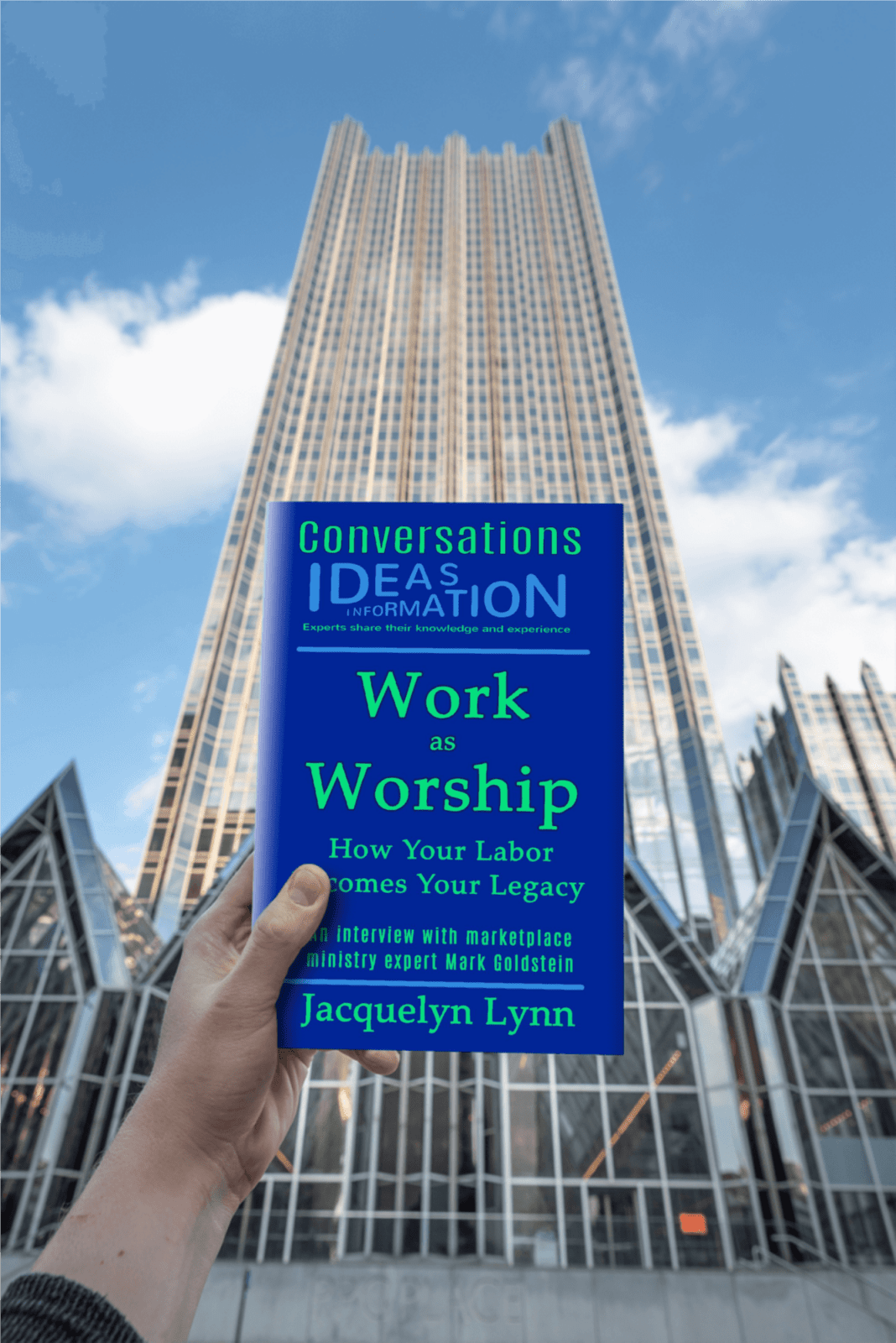 Work as Worship (book) in front of a building